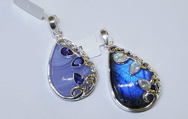 Labradorite w. Moonstone. Blue Lace Agate w. Iolite